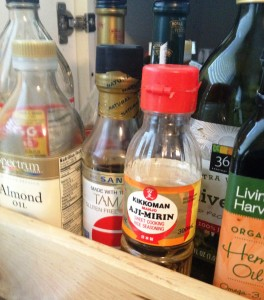 Apple cider vinegar, extra virgin olive oil, hemp oil, almond oil, tamari, mirin...