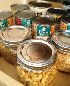 Quinoa, long brown rice, green lentils, raw cashews, organic beans...I'm liking mason jars for containers.