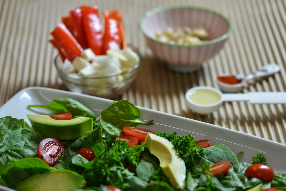 Avocado + Tomato Salad with Hot Stuff Dressing