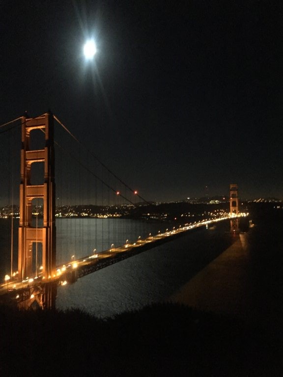 Golden Gate Bridge with Full Moon